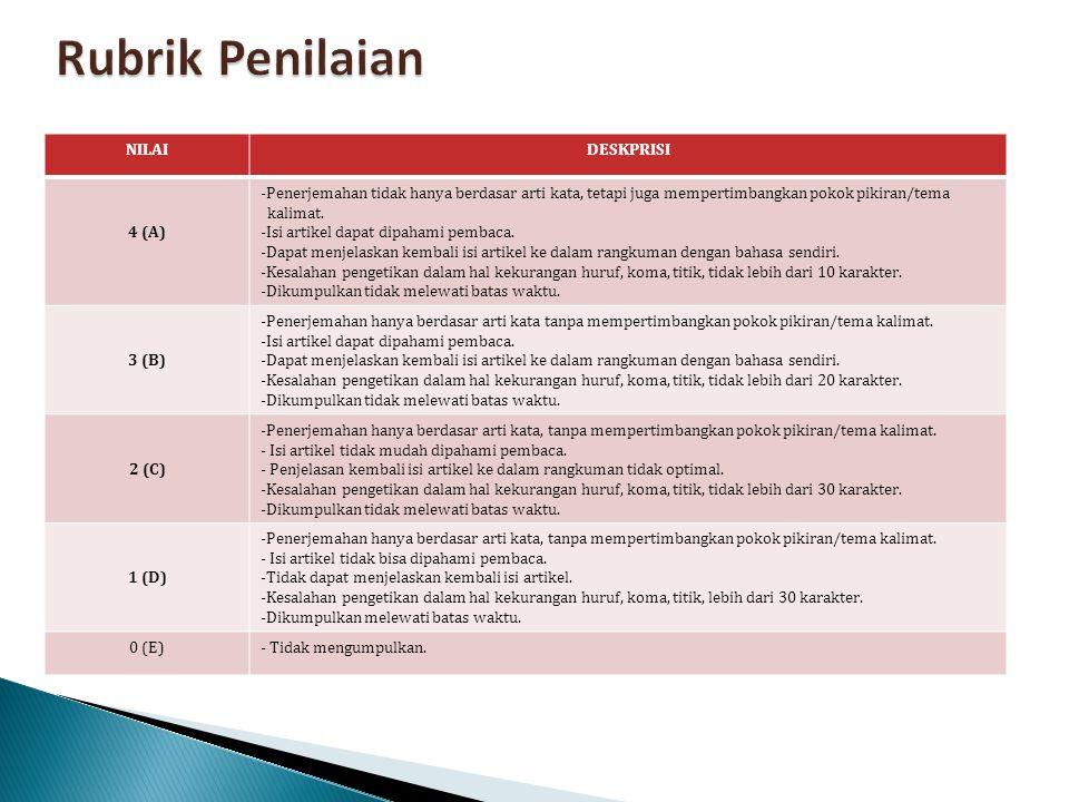 Rubrik Penilaian NILAI DESKPRISI 4 (A)