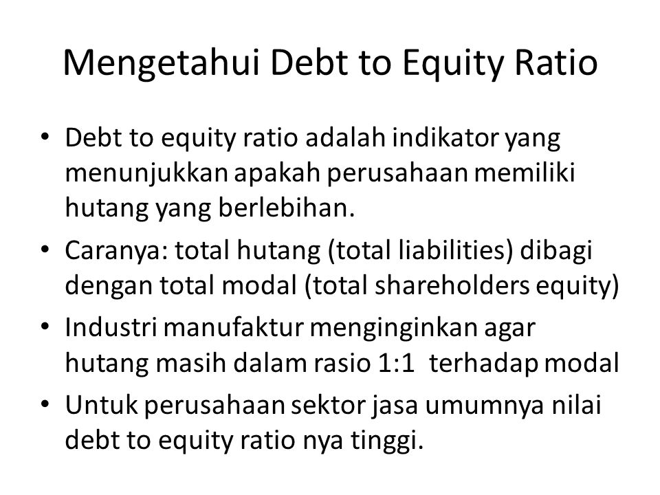 Mengetahui Debt to Equity Ratio