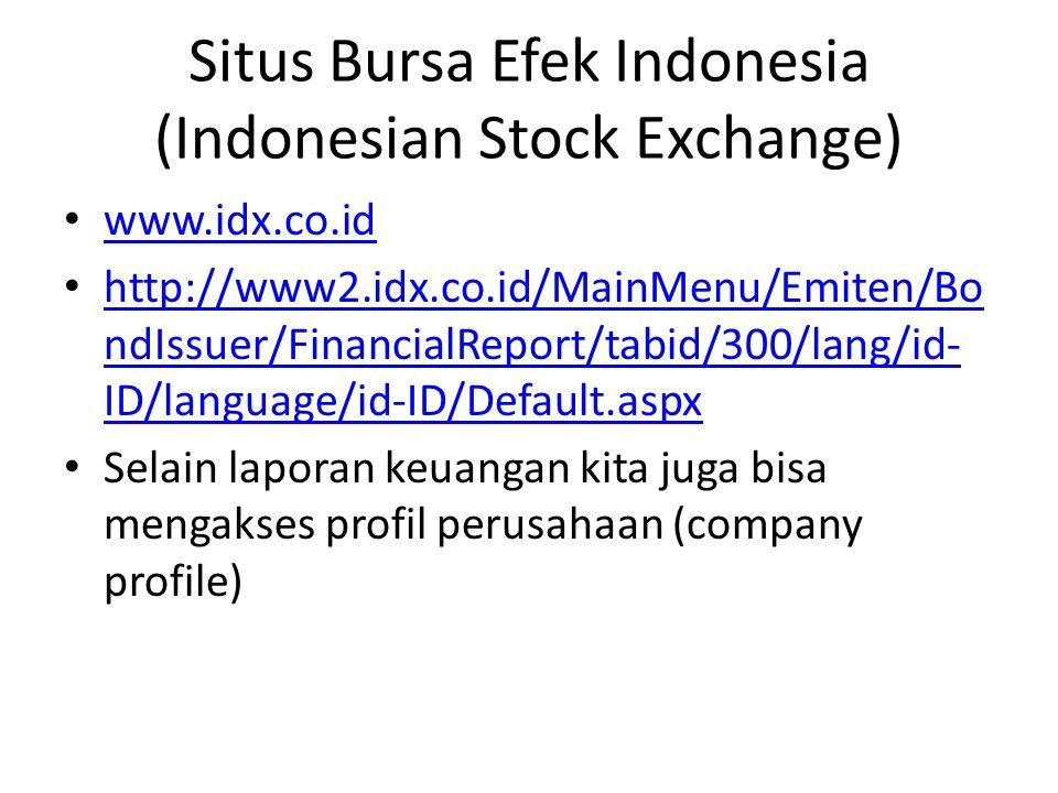 Situs Bursa Efek Indonesia (Indonesian Stock Exchange)