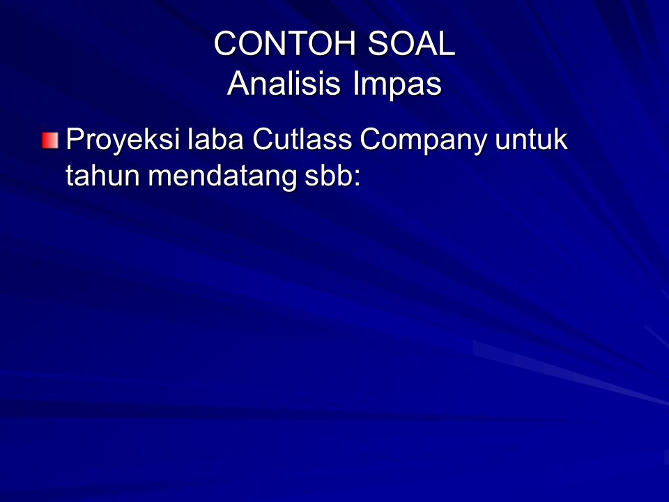 CONTOH SOAL Analisis Impas