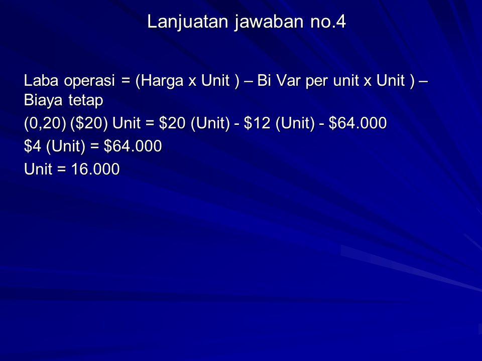 Lanjuatan jawaban no.4 Laba operasi = (Harga x Unit ) – Bi Var per unit x Unit ) – Biaya tetap.