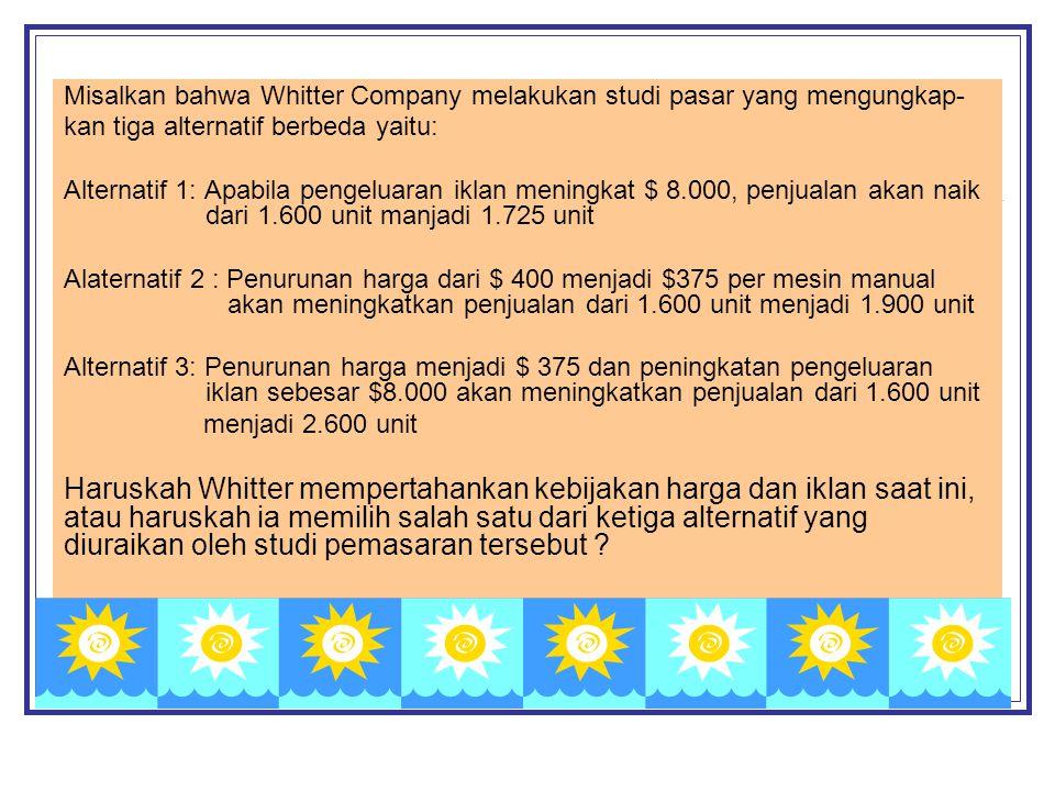 Misalkan bahwa Whitter Company melakukan studi pasar yang mengungkap-