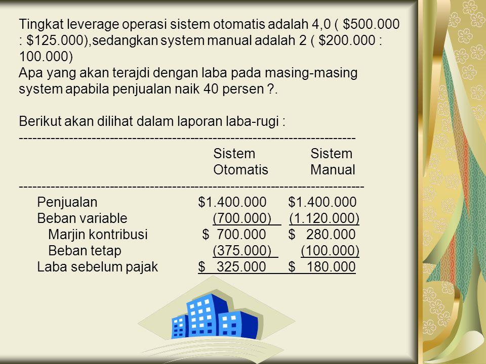 Tingkat leverage operasi sistem otomatis adalah 4,0 ( $500.000