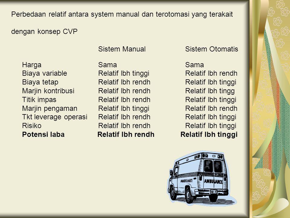 Perbedaan relatif antara system manual dan terotomasi yang terakait