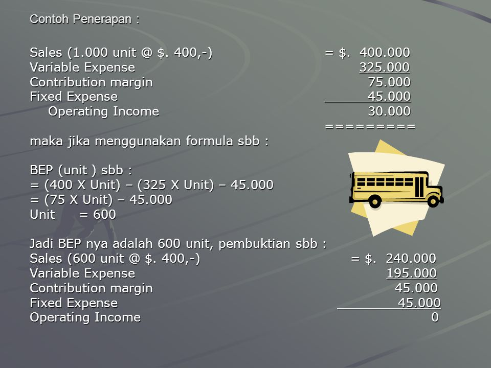 Contoh Penerapan : Sales (1.000 unit @ $. 400,-) = $. 400.000. Variable Expense 325.000.