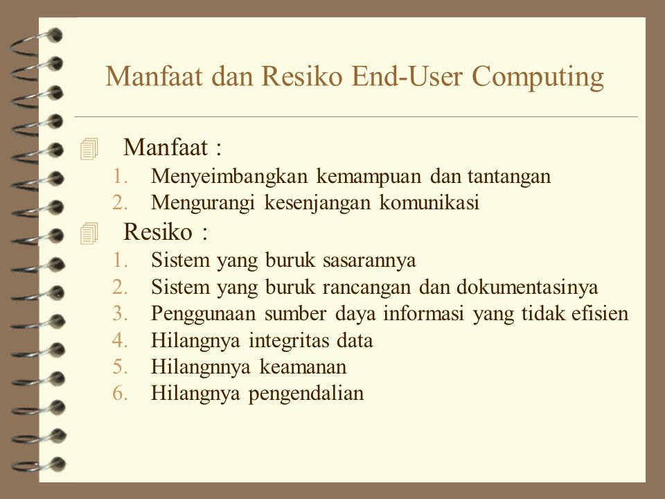 Manfaat dan Resiko End-User Computing