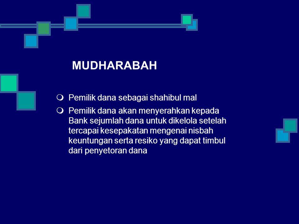MUDHARABAH Pemilik dana sebagai shahibul mal