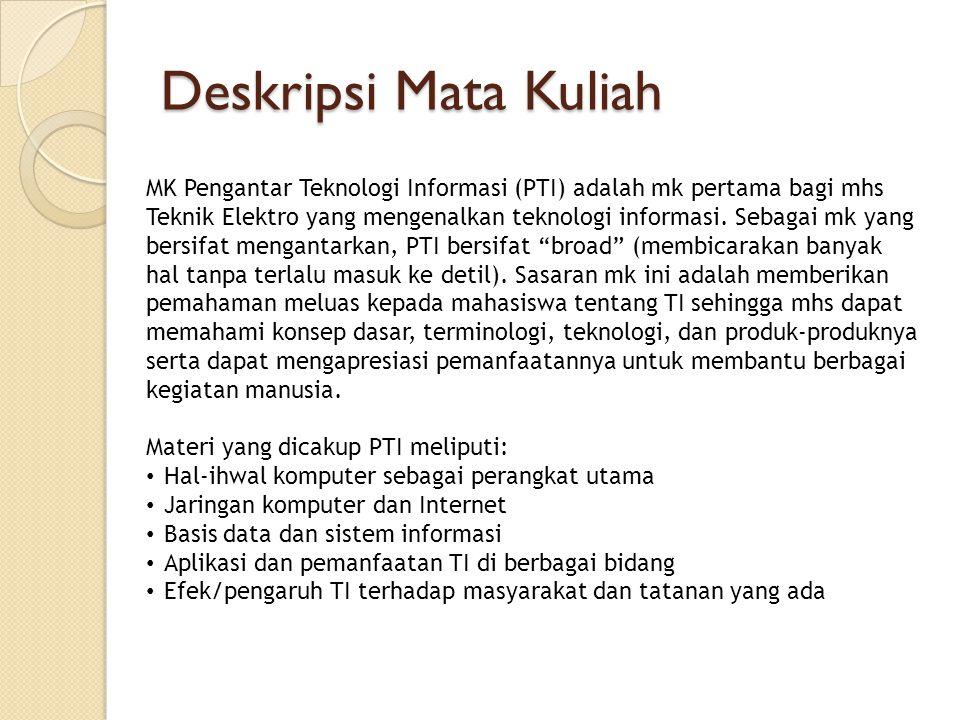 Deskripsi Mata Kuliah MK Pengantar Teknologi Informasi (PTI) adalah mk pertama bagi mhs.