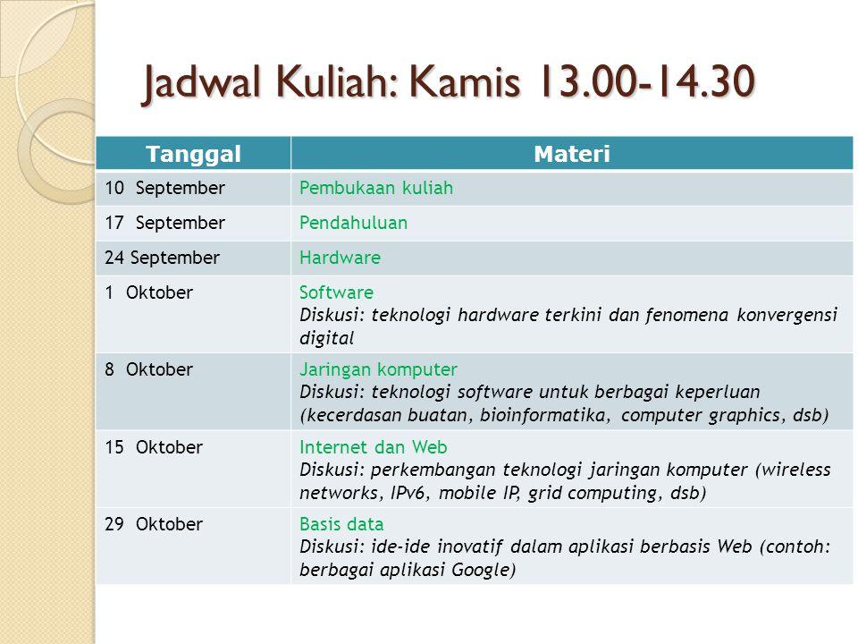 Jadwal Kuliah: Kamis 13.00-14.30 Tanggal Materi 10 September