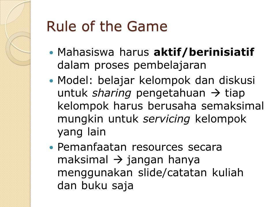 Rule of the Game Mahasiswa harus aktif/berinisiatif dalam proses pembelajaran.