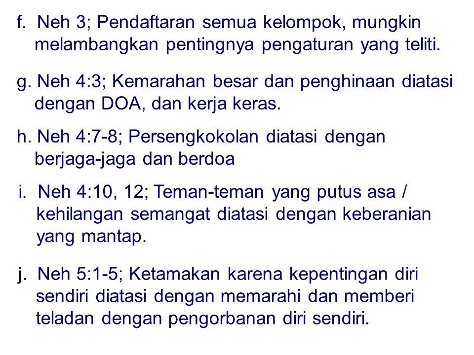 f. Neh 3; Pendaftaran semua kelompok, mungkin melambangkan pentingnya pengaturan yang teliti.