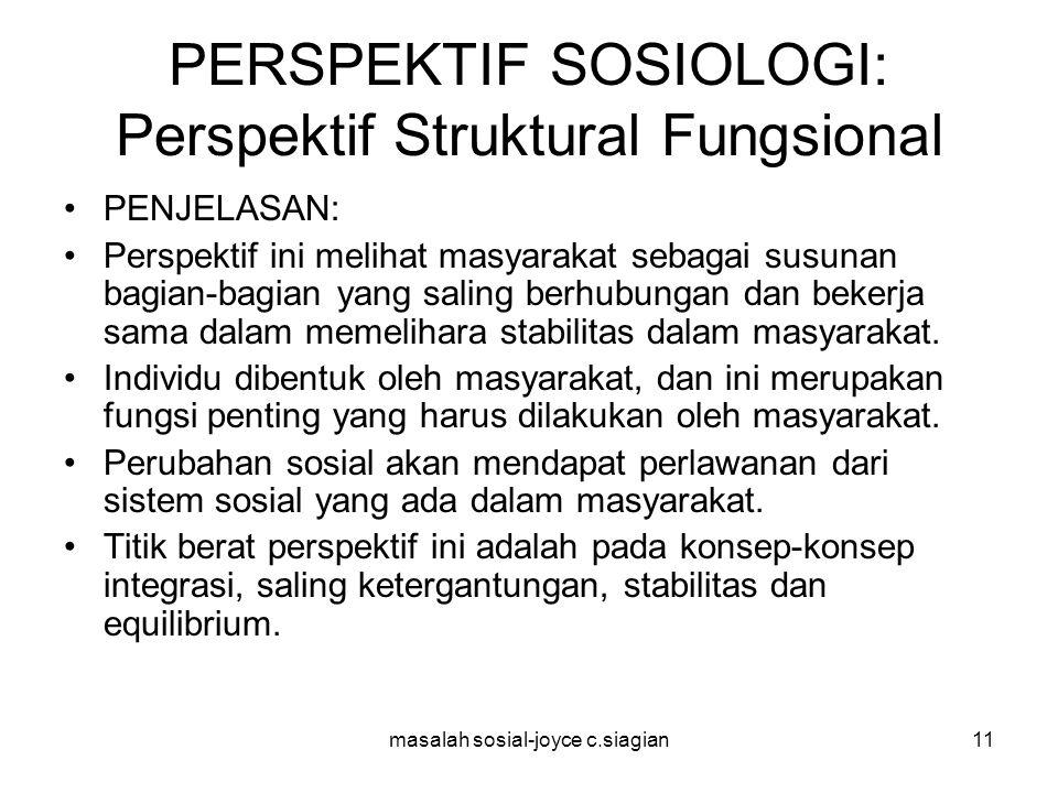 PERSPEKTIF SOSIOLOGI: Perspektif Struktural Fungsional