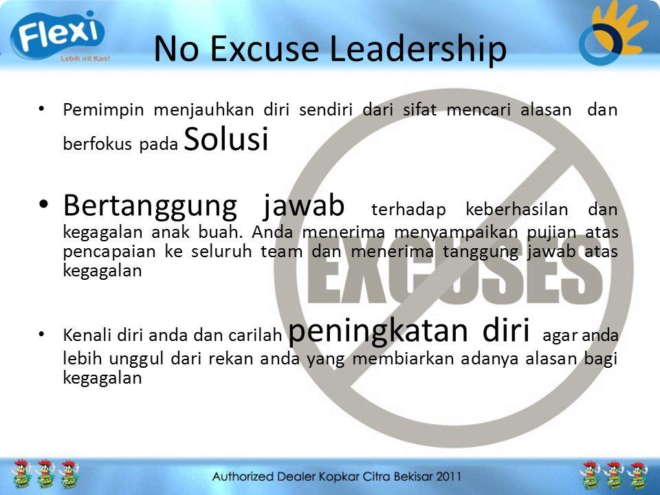 No Excuse Leadership Pemimpin menjauhkan diri sendiri dari sifat mencari alasan dan berfokus pada Solusi.