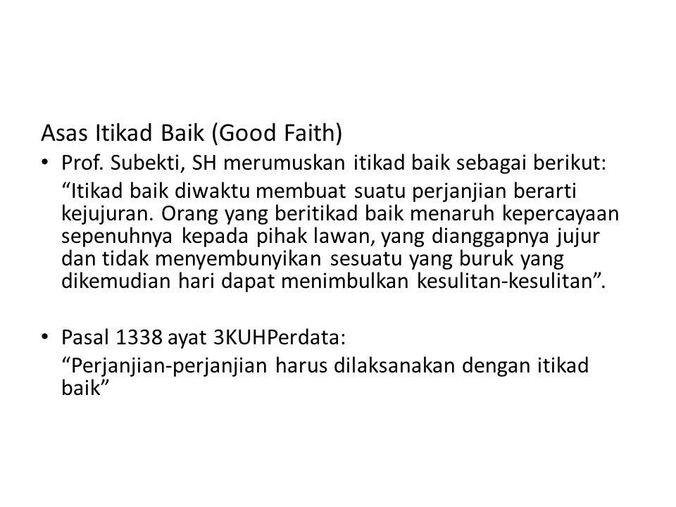 Asas Itikad Baik (Good Faith)
