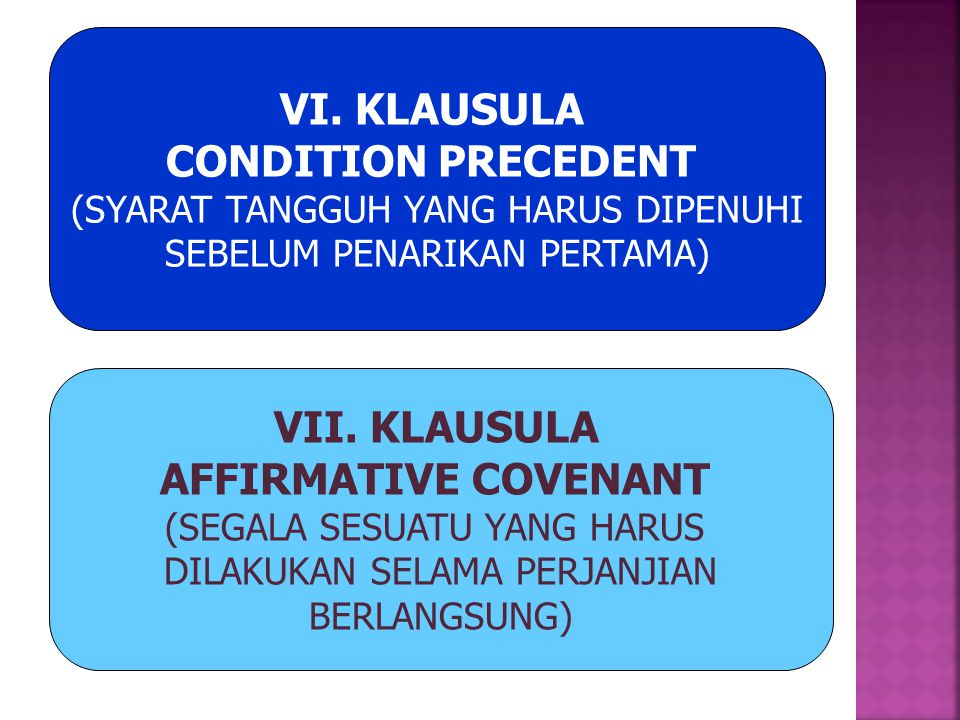 VI. KLAUSULA CONDITION PRECEDENT VII. KLAUSULA AFFIRMATIVE COVENANT