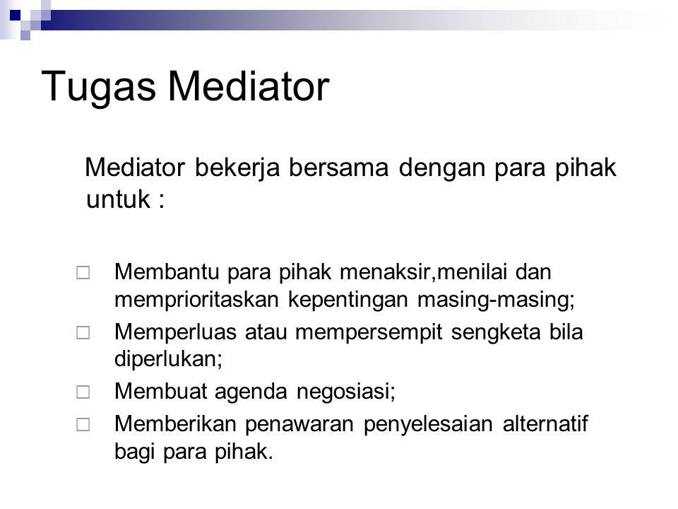 Tugas Mediator Mediator bekerja bersama dengan para pihak untuk :