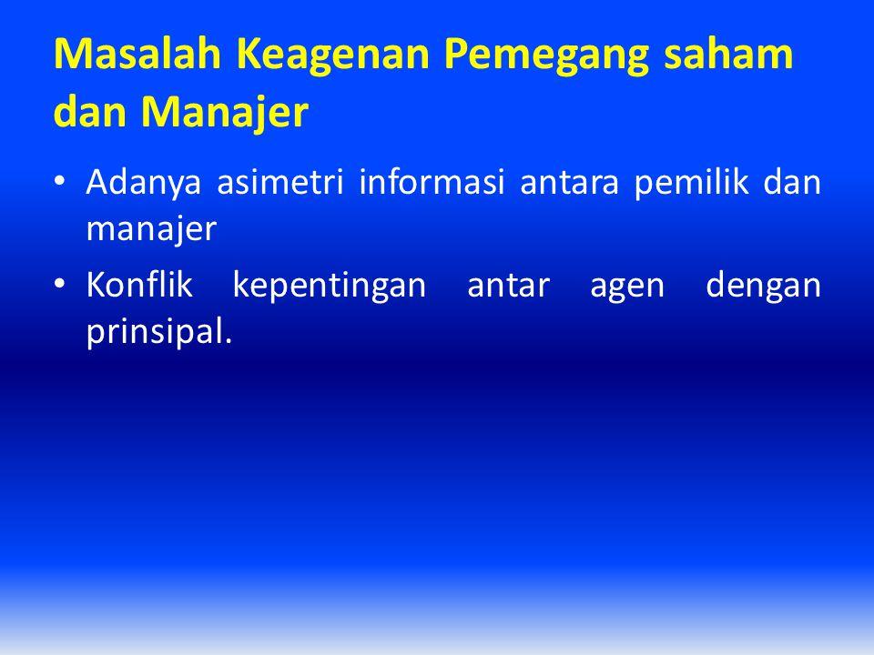 Masalah Keagenan Pemegang saham dan Manajer