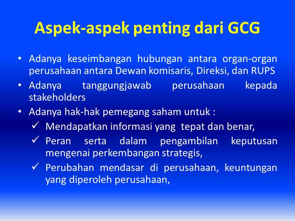 Aspek-aspek penting dari GCG