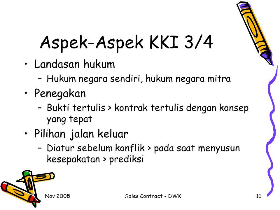 Aspek-Aspek KKI 3/4 Landasan hukum Penegakan Pilihan jalan keluar