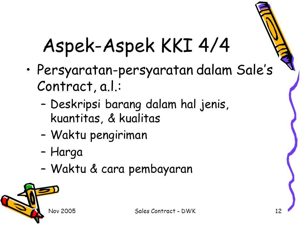 Aspek-Aspek KKI 4/4 Persyaratan-persyaratan dalam Sale's Contract, a.l.: Deskripsi barang dalam hal jenis, kuantitas, & kualitas.