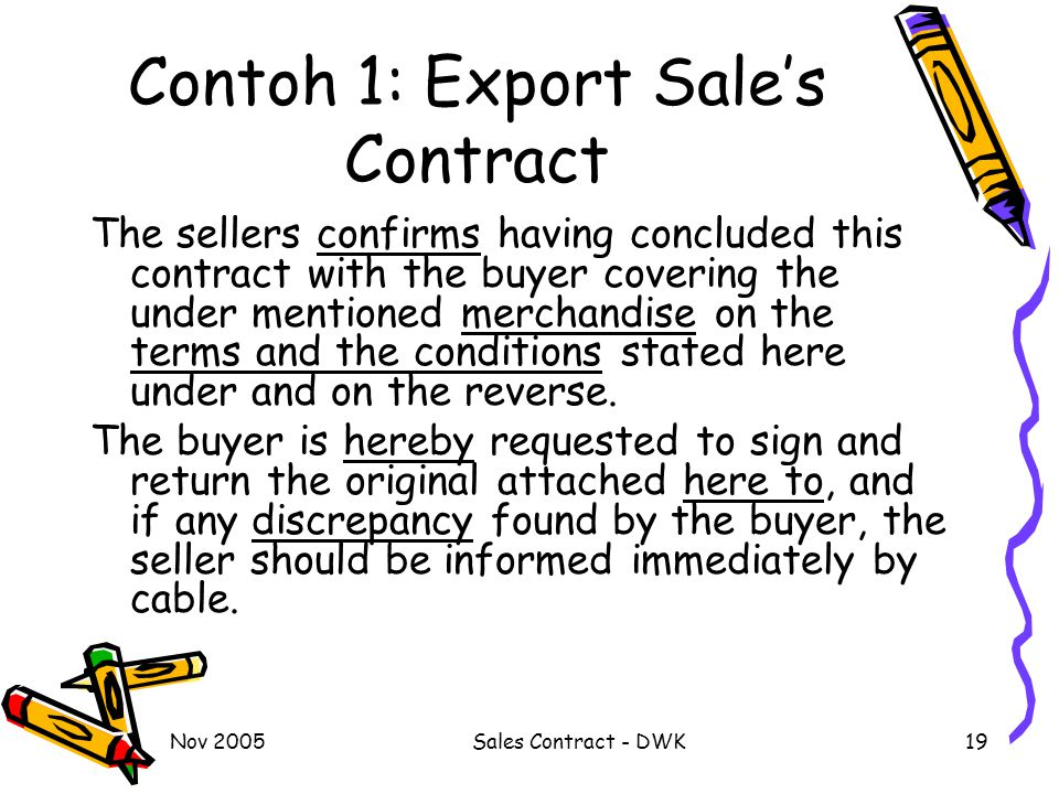 Contoh 1: Export Sale's Contract