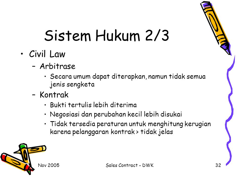 Sistem Hukum 2/3 Civil Law Arbitrase Kontrak
