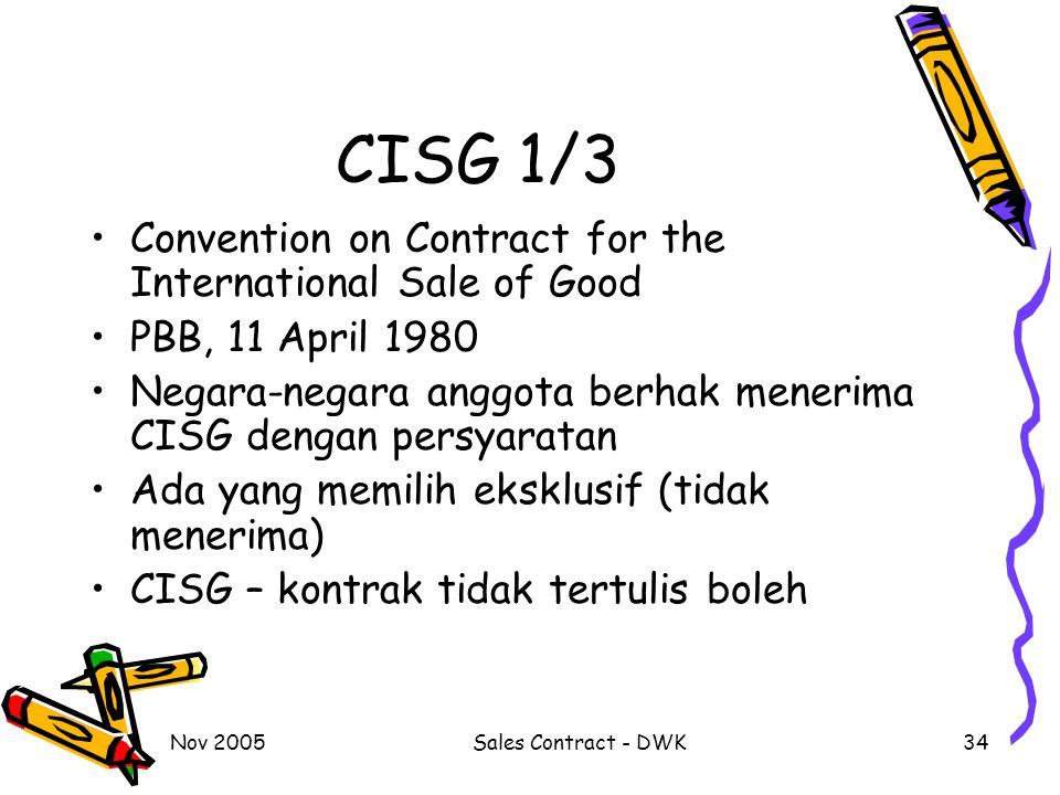 CISG 1/3 Convention on Contract for the International Sale of Good