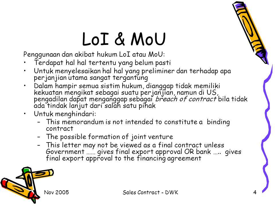 LoI & MoU Penggunaan dan akibat hukum LoI atau MoU: