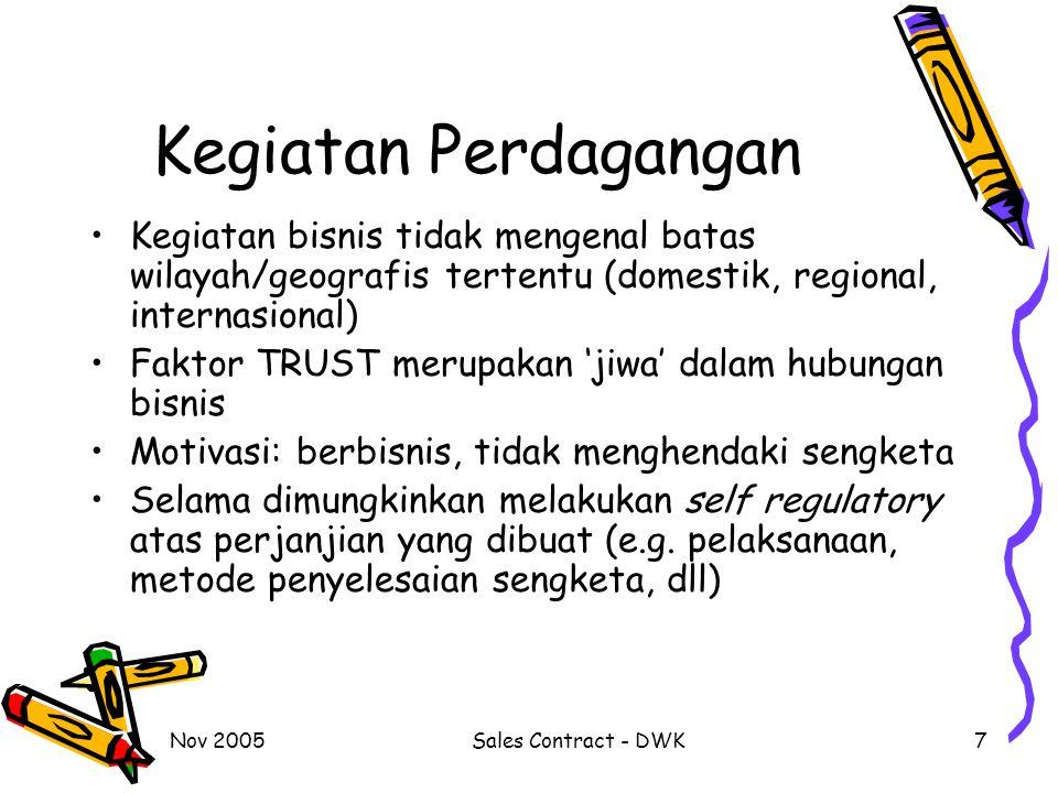 Kegiatan Perdagangan Kegiatan bisnis tidak mengenal batas wilayah/geografis tertentu (domestik, regional, internasional)