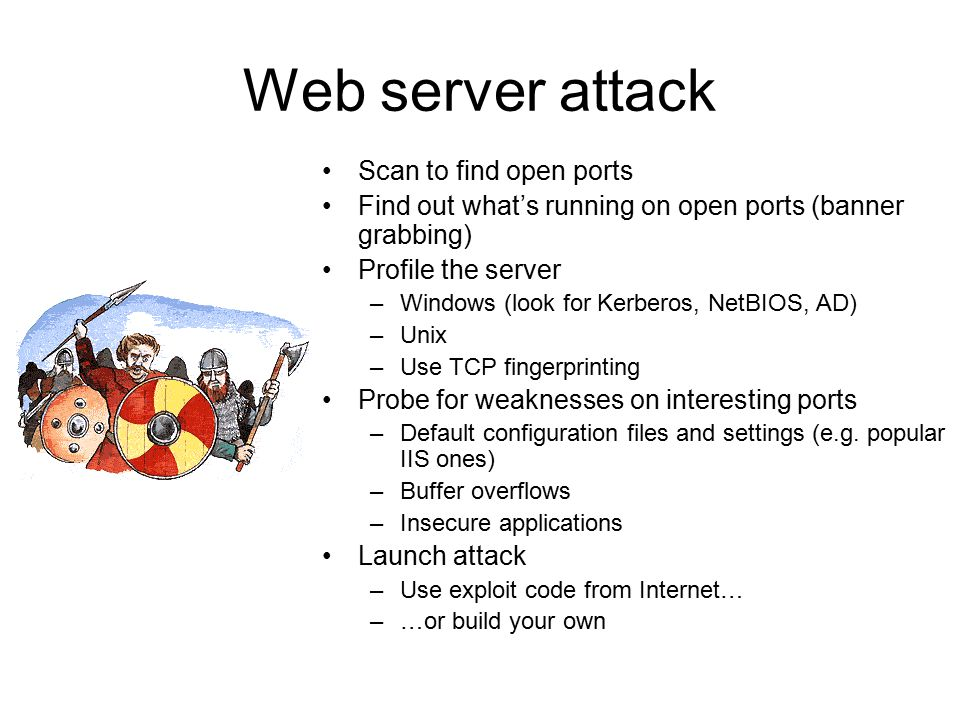 Web server attack Scan to find open ports