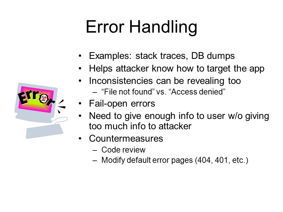 Error Handling Examples: stack traces, DB dumps
