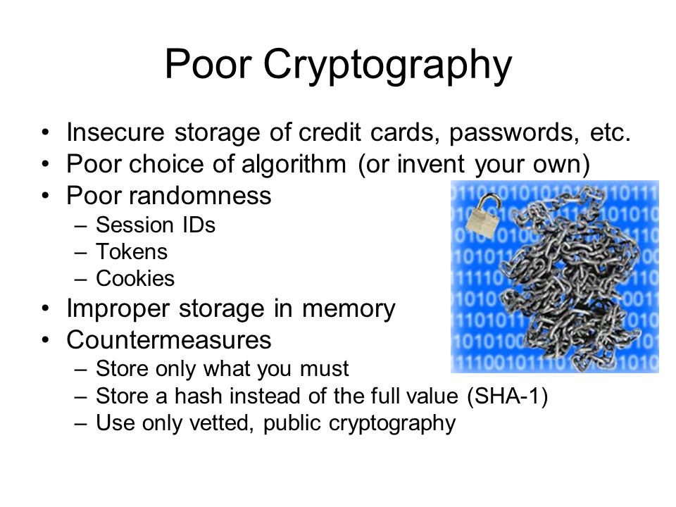 Poor Cryptography Insecure storage of credit cards, passwords, etc.
