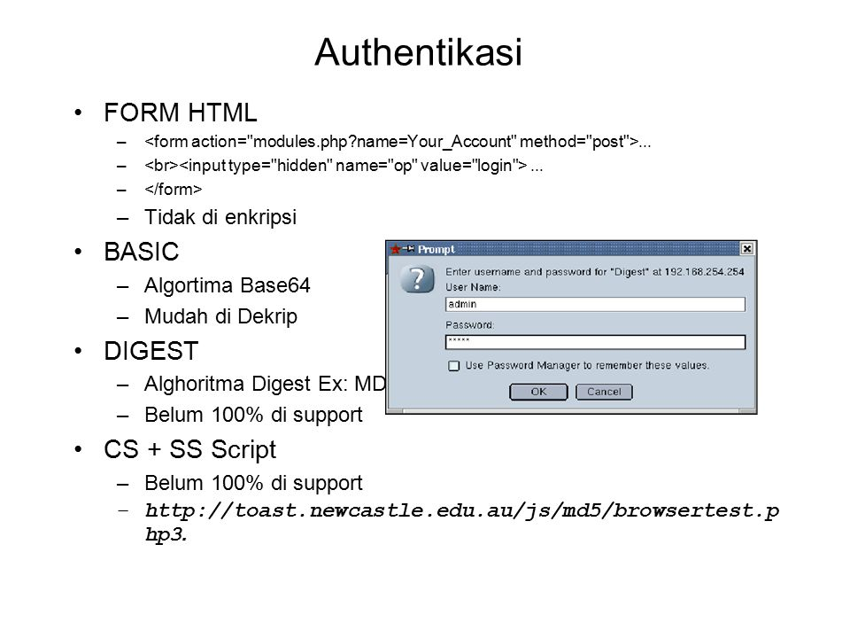 Authentikasi FORM HTML BASIC DIGEST CS + SS Script Tidak di enkripsi