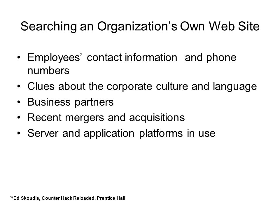 Searching an Organization's Own Web Site