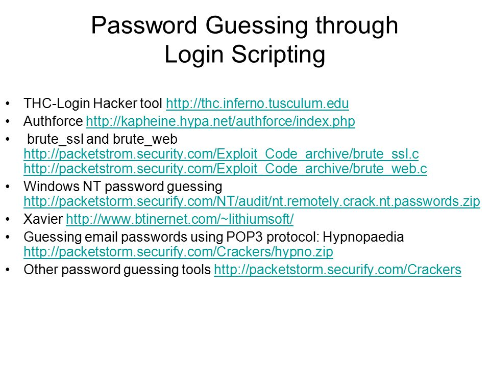 Password Guessing through Login Scripting