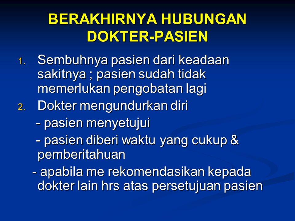 BERAKHIRNYA HUBUNGAN DOKTER-PASIEN