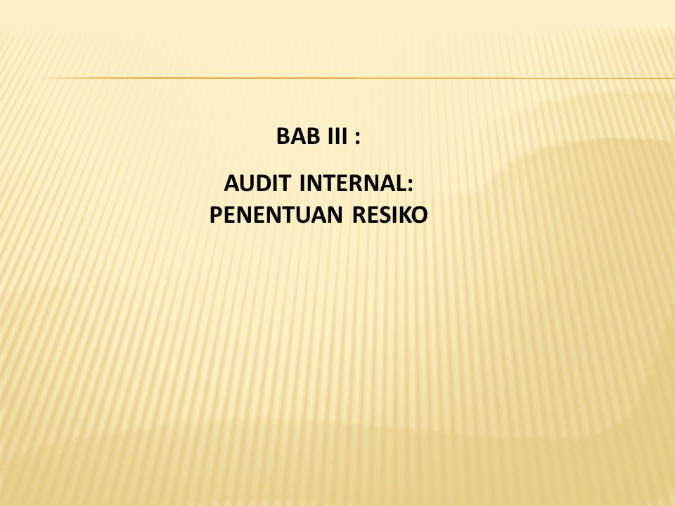 BAB III : AUDIT INTERNAL: PENENTUAN RESIKO