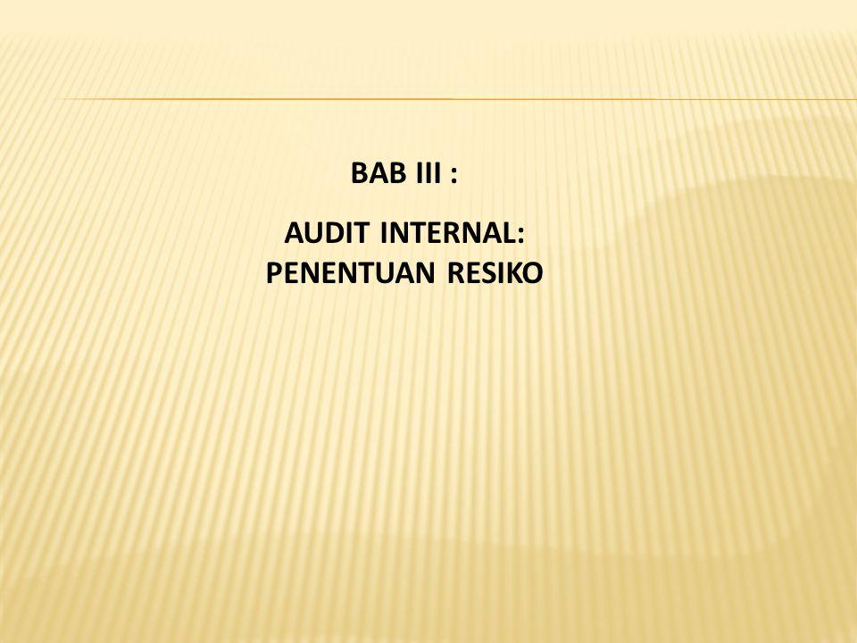 BAB III : AUDIT INTERNAL: PENENTUAN RESIKO