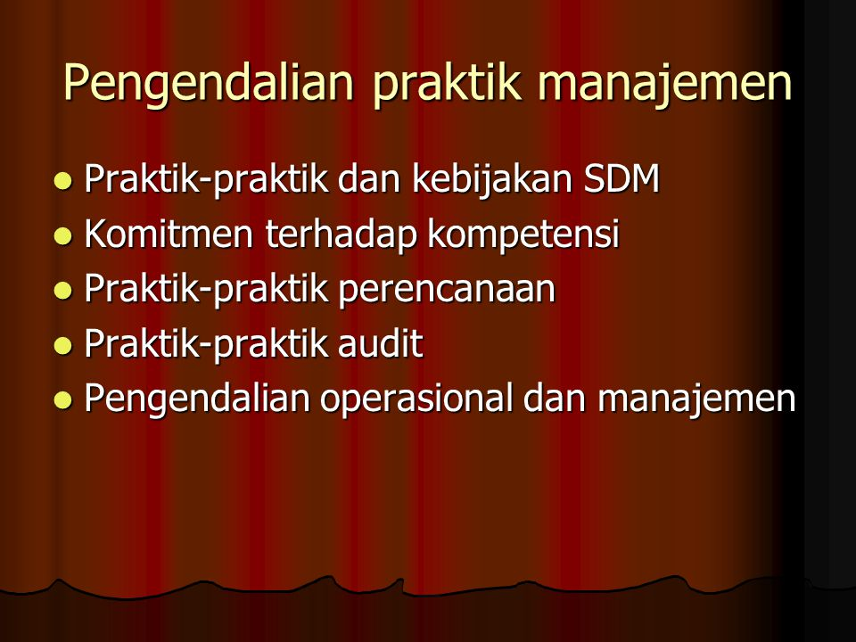 Pengendalian praktik manajemen