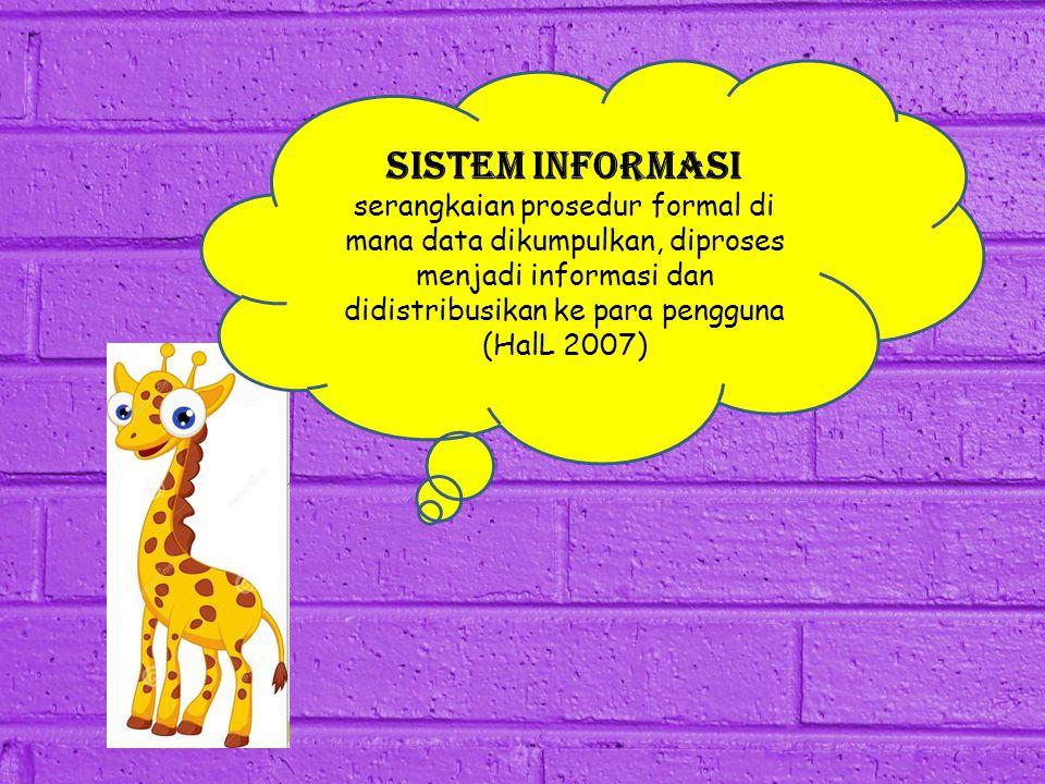 sistem informasi serangkaian prosedur formal di mana data dikumpulkan, diproses menjadi informasi dan didistribusikan ke para pengguna (HalL 2007)