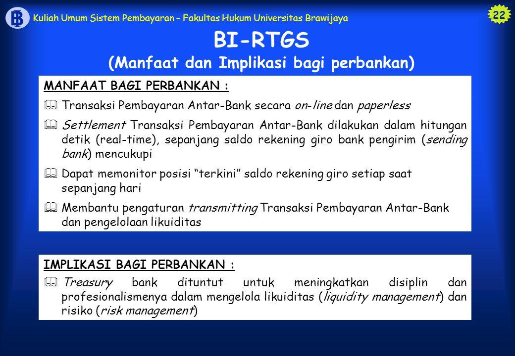 BI-RTGS (Manfaat dan Implikasi bagi perbankan)
