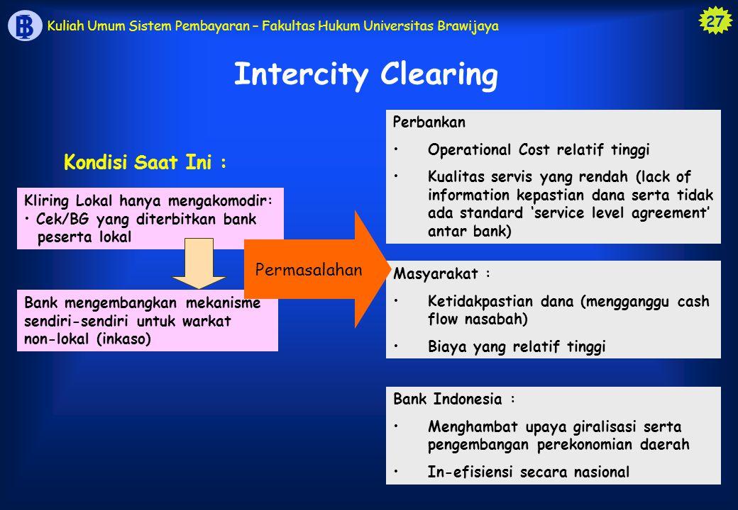 Intercity Clearing Kondisi Saat Ini : Permasalahan Perbankan