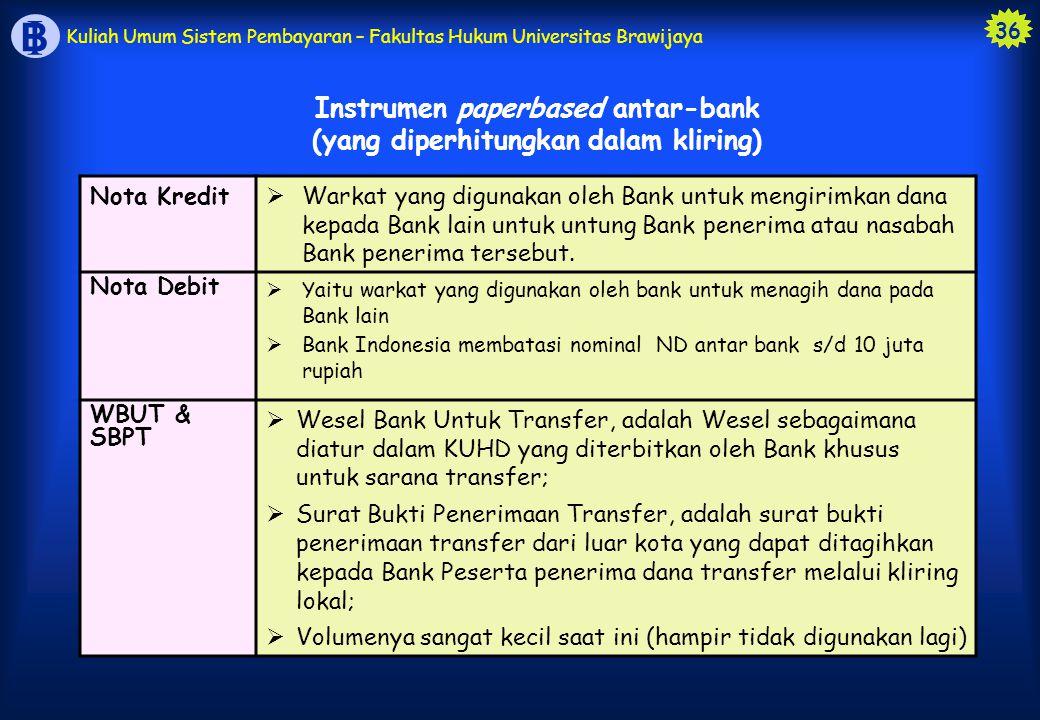 Instrumen paperbased antar-bank (yang diperhitungkan dalam kliring)