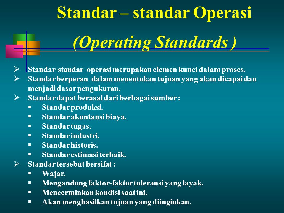 Standar – standar Operasi (Operating Standards )
