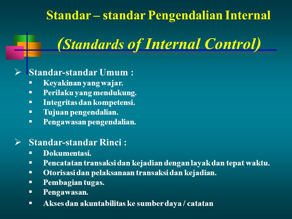 (Standards of Internal Control)