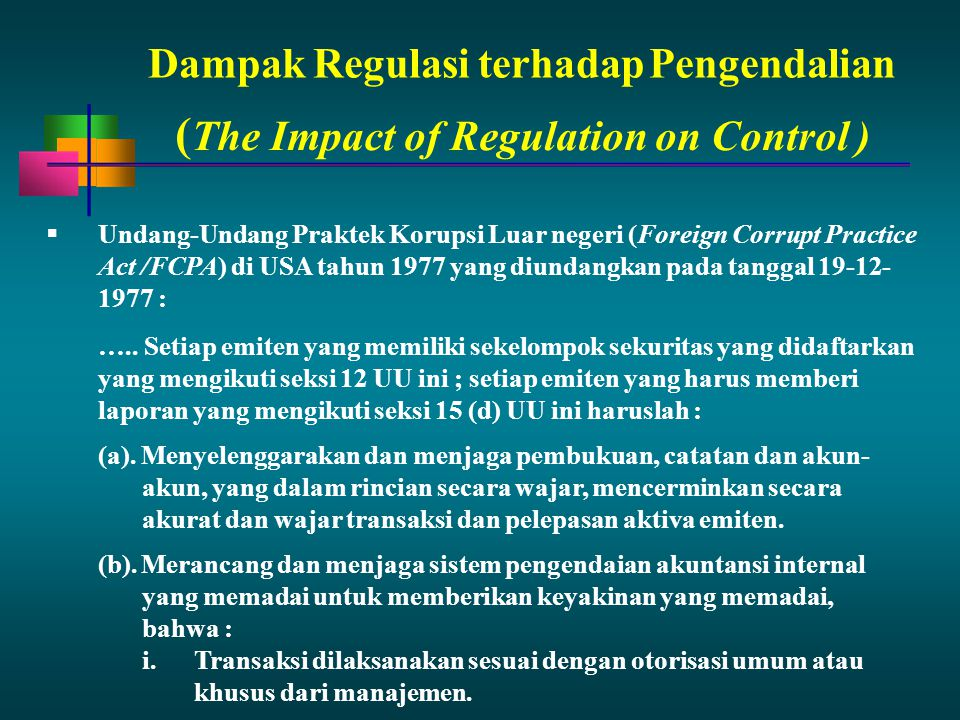 (The Impact of Regulation on Control )