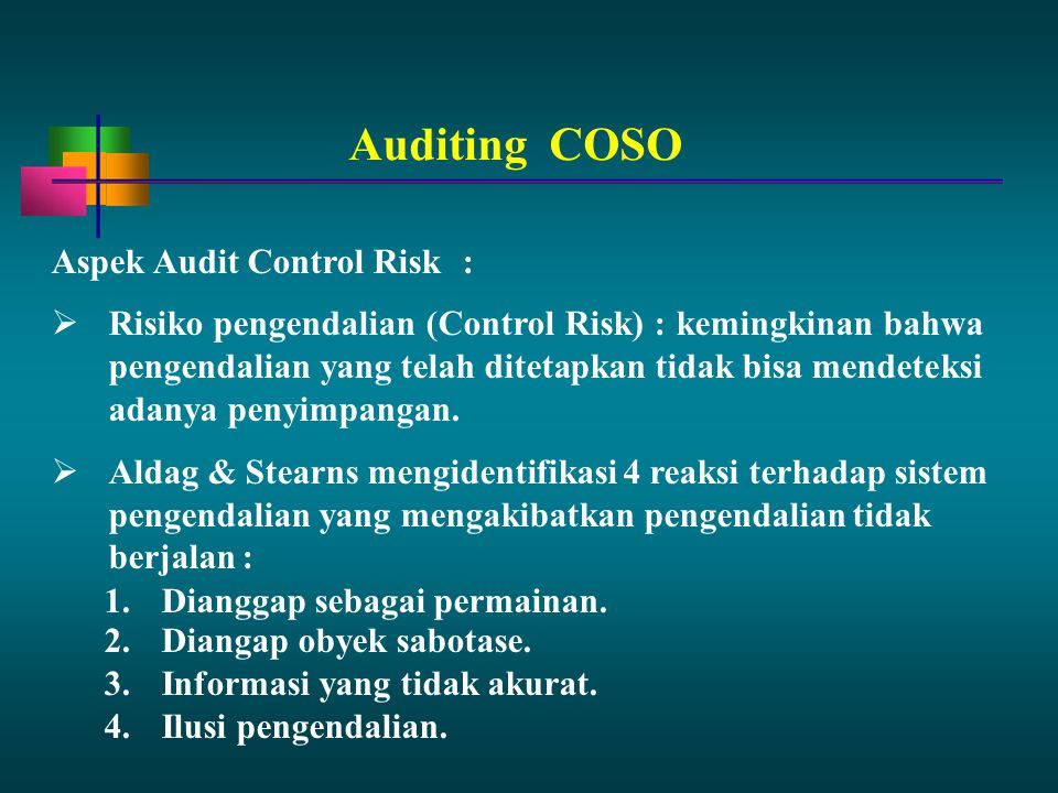 Auditing COSO Aspek Audit Control Risk :