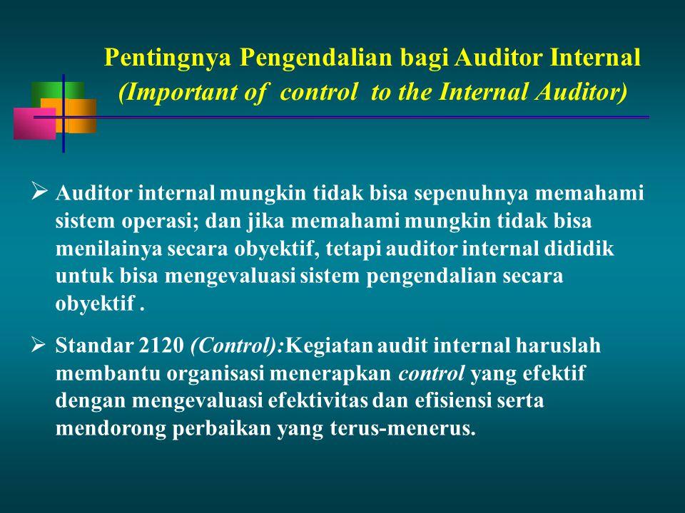 Pentingnya Pengendalian bagi Auditor Internal