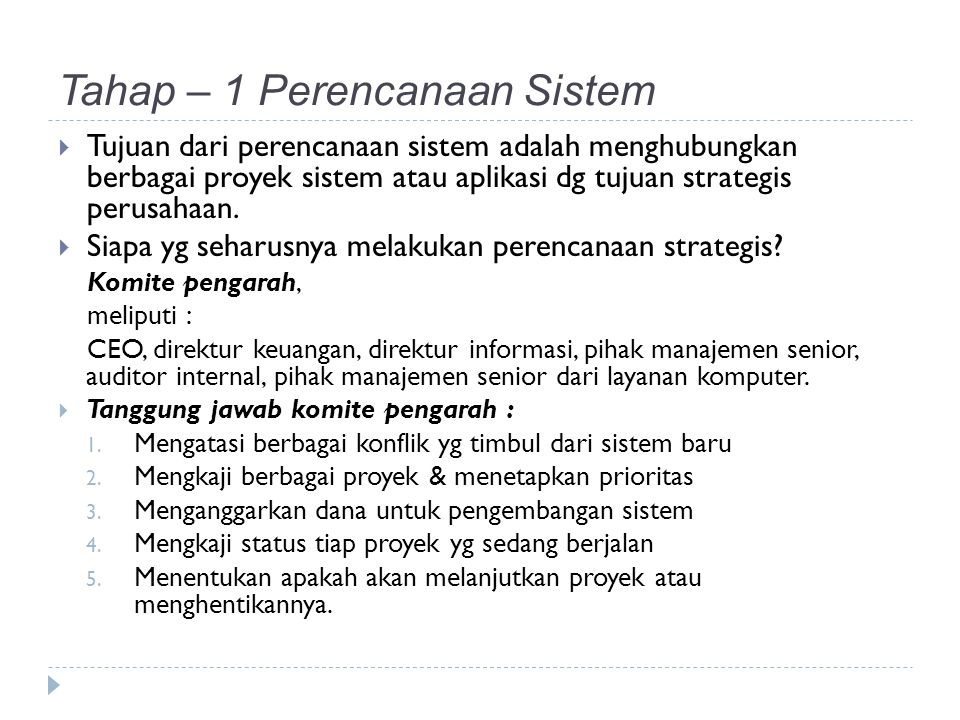 Tahap – 1 Perencanaan Sistem