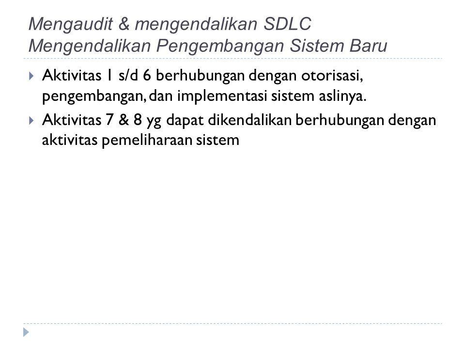 Mengaudit & mengendalikan SDLC Mengendalikan Pengembangan Sistem Baru